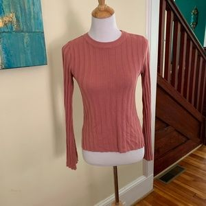 Dusty Rose Pink Fitted Long Sleeve Ribbed Top